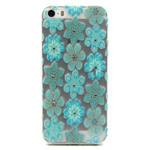 Embossing Blue Flowers TPU Cover for iPhone 5 / 5s with Decorated Crystals