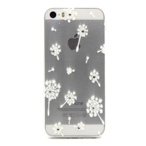 Embossing Dandelion TPU Cover for iPhone 5 / 5s with Decorated Crystals