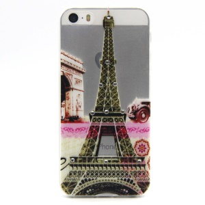Embossing Eiffel Tower TPU Shell for iPhone 5 / 5s with Decorated Crystals