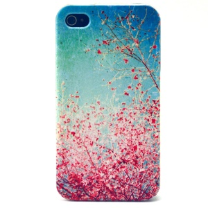 Red Flowers TPU Protective Case for iPhone 4s 4