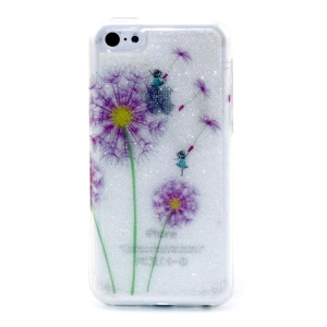 Glitter Powder IMD TPU Shell Case for iPhone 5c - Purple Dandelion