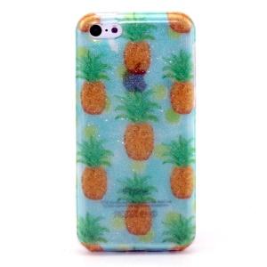 Glitter Powder IMD TPU Shell for iPhone 5c - Yellow Pineapples