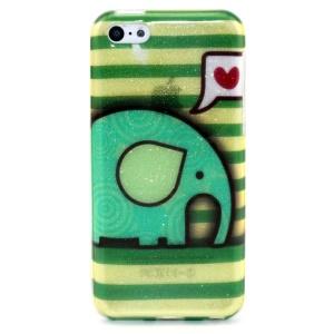 Glitter Powder IMD TPU Back Case for iPhone 5c - Cute Elephant and Stripes