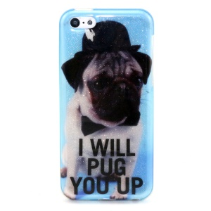 Glitter Powder IMD TPU Cover Case for iPhone 5c - I Will Pug You Up