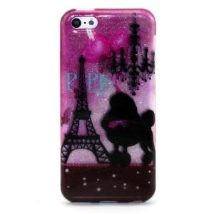 Glitter Powder IMD TPU Shell Case Cover for iPhone 5c - Paris Eiffel Tower