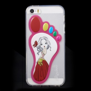 3D Footprint Shape TPU Gel Case for iPhone 5 5s - Girl in Skirt