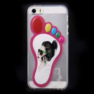 3D Footprint Shape TPU Case for iPhone 5 5s - Girl Answering Phone