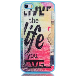 For iPhone 5s 5 Leather Coated TPU Back Case with Card Holder - Live the Life You Love