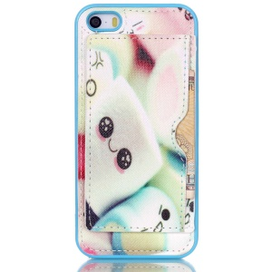 For iPhone 5s 5 Leather Coated TPU Back Case with Kickstand - Cute Marshmallow