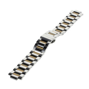For Apple Watch 42mm Luxury Metal Wristband - Silver / Gold