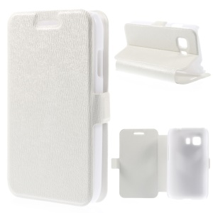 Magnetic Leather Cover w/ Stand for Samsung Galaxy Young 2 G130 - White