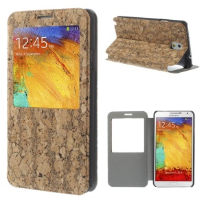 Black Crackled Wood Texture Window View Leather Stand Case for Samsung Galaxy Note 3 N9005 N9000