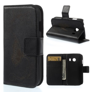 Black Laser Carving Butterfly Stand Leather Wallet Case for Samsung Galaxy Ace Style G310