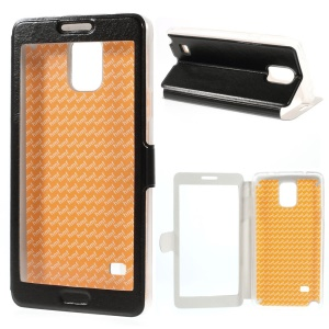 Black for Samsung Galaxy Note 4 SM-N910S SM-N910C Full View Window Leather Stand Case