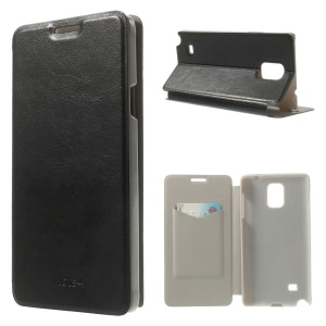 Leather Card Holder Case w/ Stand for Samsung Galaxy Note 4 SM-N910S SM-N910C - Black