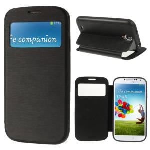 Window View Brushed Smart Leather Stand Case for Samsung Galaxy S4 i9500 i9502 i9500 - Black