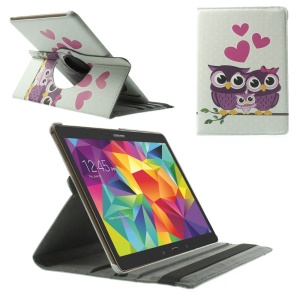 For Samsung Galaxy Tab S 10.5 T800 T805 360 Degree Rotary Smart Leather Stand Case - Couple Owls
