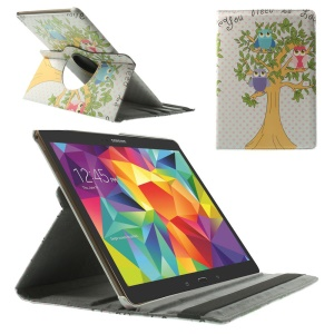 For Samsung Galaxy Tab S 10.5 T800 T805 360 Degree Rotary Smart Leather Stand Cover - Owls in the Tree