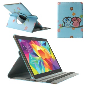 For Samsung Galaxy Tab S 10.5 T800 T805 360 Degree Rotary Smart Leather Flip Case - Owls & Flowers