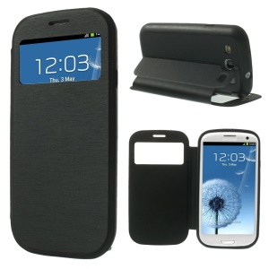 Black for Samsung Galaxy S3 I9300 Brushed Texture Window View Folio Leather Stand Case