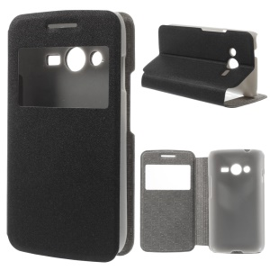 Window View Sand-like Texture Leather Flip Case for Samsung Galaxy Ace NXT SM-G313H - Black