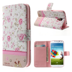 Pink Floret Lace Rhinestone Leather Wallet Case w/ Stand for Samsung Galaxy S4 i9500 i9502 i9505