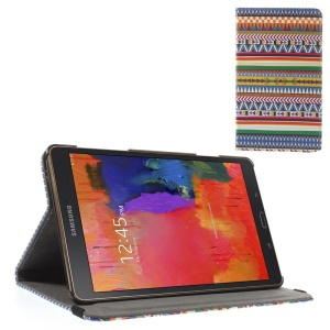Leather Stand Case w/ Elastic Band for Samsung Galaxy Tab S 8.4 T700 T705 - Aztec Tribe Pattern