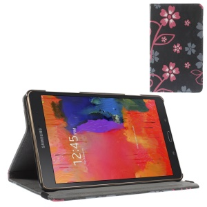 Leather Case w/ Elastic Band for Samsung Galaxy Tab S 8.4 T700 T705 - Red & Grey Flowers Black Background