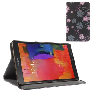Leather Case w/ Elastic Band for Samsung Galaxy Tab S 8.4 T700 T705 - Pink & Grey Flowers Black Background