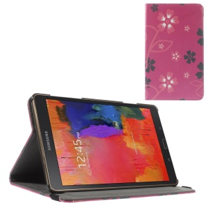 Leather Cover w/ Elastic Band for Samsung Galaxy Tab S 8.4 T700 T705 - Red & Grey Flowers Rose Background