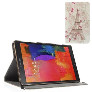 Folio Leather Cover w/ Elastic Band for Samsung Galaxy Tab S 8.4 T700 T705 - Eiffel Tower and Roses