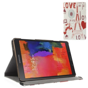 Flip Stand Leather Cover w/ Elastic Band for Samsung Galaxy Tab S 8.4 T700 T705 - Love in Paris
