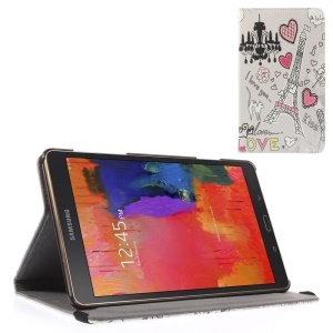 Flip Stand Leather Case w/ Elastic Band for Samsung Galaxy Tab S 8.4 T700 T705 - Love Paris Doodles