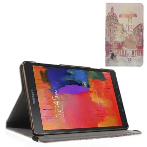 Flip Stand Leather Case w/ Elastic Band for Samsung Galaxy Tab S 8.4 T700 T705 - Lady Holding Umbrella