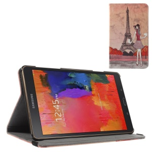 Leather Stand Case Cover w/ Elastic Band for Samsung Galaxy Tab S 8.4 T700 T705 - Eiffel Tower Pretty Girl