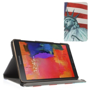 Leather Case Cover w/ Elastic Band for Samsung Galaxy Tab S 8.4 T700 T705 - Statue of Liberty & US Flag
