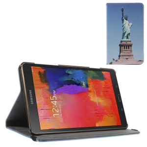 Leather Stand Cover w/ Elastic Band for Samsung Galaxy Tab S 8.4 T700 T705 - The Statue of Liberty