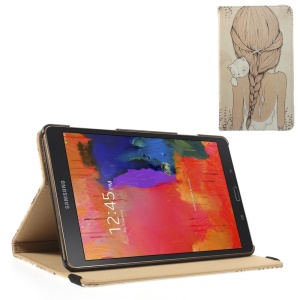 Leather Flip Cover w/ Elastic Band for Samsung Galaxy Tab S 8.4 T700 T705 - The Back of Pretty Girl