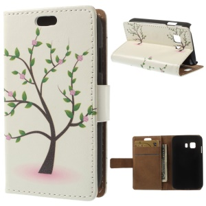 Flip Folio Leather Wallet Case for Samsung Galaxy Young 2 SM-G130 - Tree with Flowers