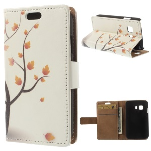Leather Cover Card Holder for Samsung Galaxy Young 2 SM-G130 - Autumn Maple Tree