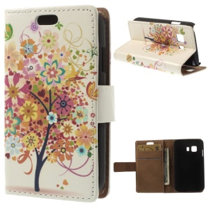 Flip Card Holder Leather Case for Samsung Galaxy Young 2 SM-G130 - Colorful Flower Tree