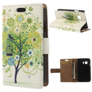 Flip Stand Leather Case Cover for Samsung Galaxy Young 2 SM-G130 - Green Flower Tree