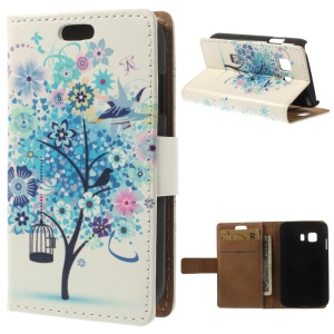 Flip Wallet Leather Case Cover for Samsung Galaxy Young 2 SM-G130 - Blue Flower Tree