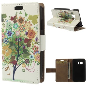 Flip Stand Leather Wallet Cover for Samsung Galaxy Young 2 SM-G130 - Colorized Fruit Tree
