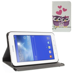 Love Hearts Owl Family Leather Stand Case for Samsung Galaxy Tab 3 7.0 Lite T110 T111