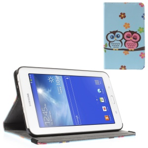 Sweet Couple Owls & Flowers Leather Stand Case Shell for Samsung Galaxy Tab 3 7.0 Lite T110 T111