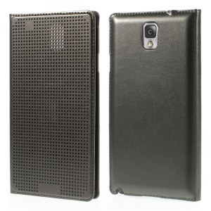 Dot View Smart Leather Flip Battery Back Housing for Samsung Galaxy Note 3 N9005 - Grey
