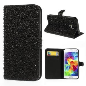 Drops Pattern Rhinestones Leather Flip Case w/ Card Slots for Samsung Galaxy S5 G900 - Black