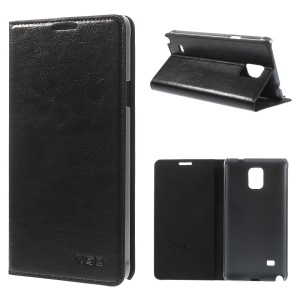 NSD Crazy Horse Flip Stand Leather Case for Samsung Galaxy Note 4 N910 - Black