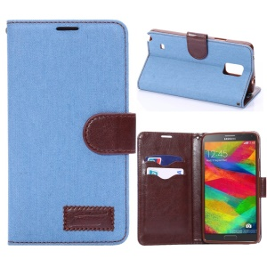 Jeans Cloth Skin Flip Leather Case Wallet for Samsung Galaxy Note 4 N910 - Light Blue